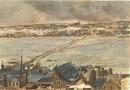 """LÉVIS ET LE """"PONT DE GLACE"""" : Canada, Québec, gravure ancienne,"""