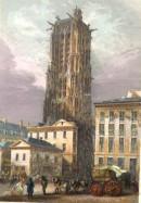 LA TOUR ST JACQUES DE LA BOUCHERIE, Paris, gravure ancienne, est