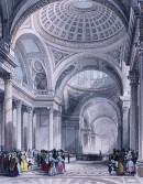 LE PANTHÉON À PARIS : France, Parigi, gravure ancienne, intérieu