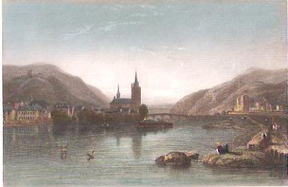 BINGEN, Deutschland, engraving, plates, print