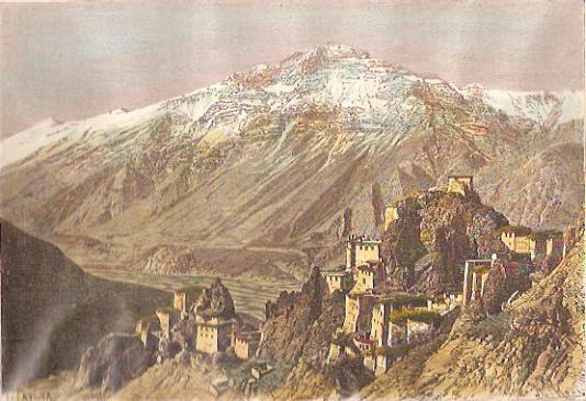 SPITI, VUE DE DANKAR, India, tibet, old print, engraving, plates