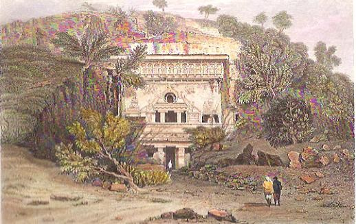 ELLORA, Asia, India, old print, engraving, plates