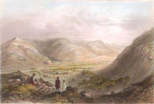 MT GERIZIM & VALE OF NABLOUS, Holyland, Israël, Palestinia, engr