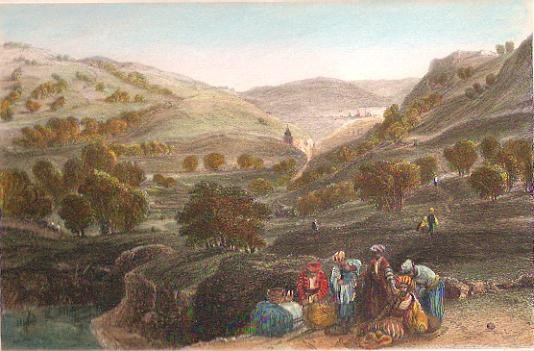 VALLÉE DE JOSAPHAT ET LE CÉDRON, Holyland, engraving, Israël, Pa