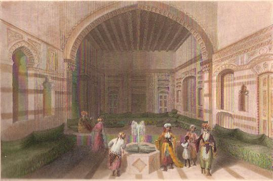 A TURKISH DIVAN, DAMASCUS, Syria, middle east, engraving, print,