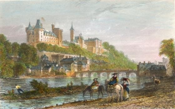 CHÂTEAU AND BRIDGE OF PAU, France, engraving, print, Béarn