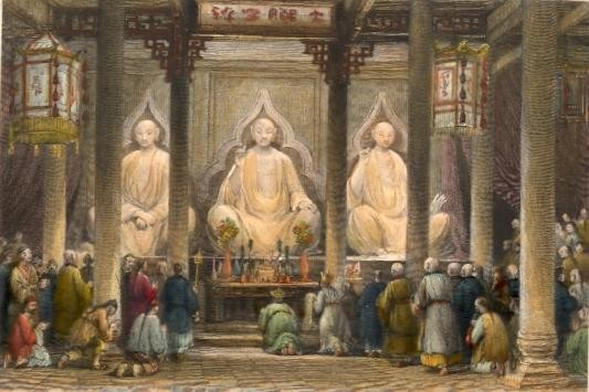GREAT TEMPLE AT HONAN, CANTON. China, asia, bouddha, engraving,