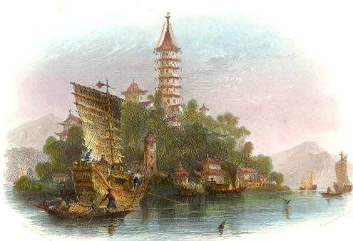 THE KIN-SHAN, OR GOLDEN ISLAND, China, Asia, engraving, plates,
