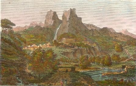DELPHES ET LES DEUX ROCHES DU PARNASSE, Greece, engraving, print