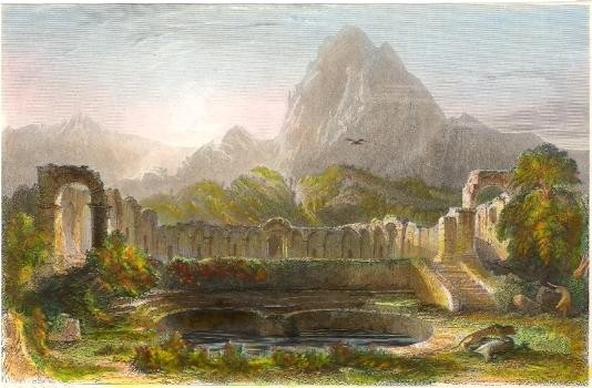 TUNISIE : TEMPLE & FOUNTAIN AT ZAGWHAN, gravure, stich
