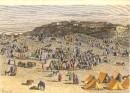 ALGÉRIE : VILLAGE ET MARCHÉ DE BOGHARI, Afrique du Nord, gravure