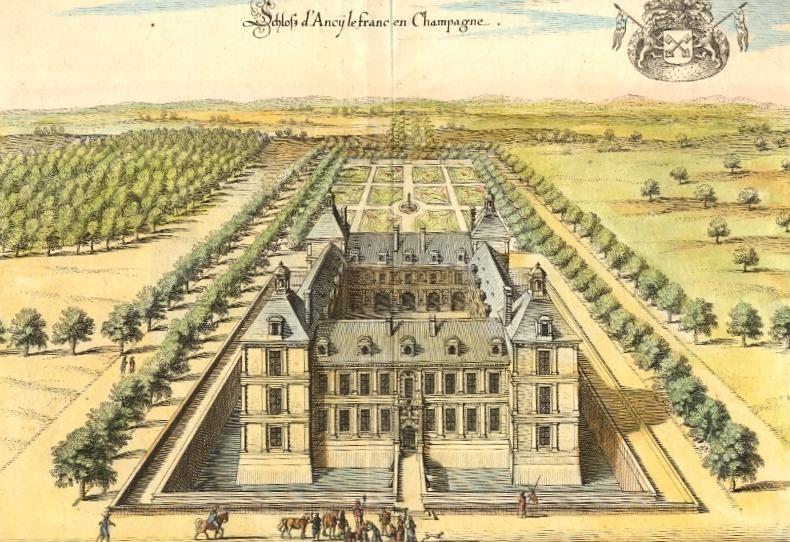 SCHLOF D'ANCY LE FRANC EN CHAMPAGNE, France, castle, engraving,