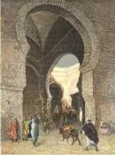 MAROC : FEZ, vue prise sous une porte de la ville, gravure, stic