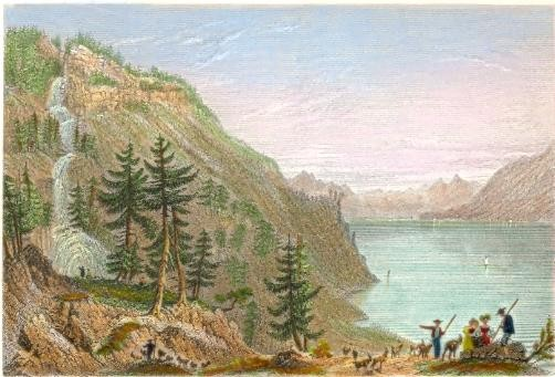 LAKE OF BRIENTZ WITH THE GIESBACH CASCADE, Canton Berne. Old eng