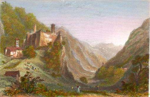 CASTLE & VALLEY OF MISOCCO LOOKING TOWARDS SOAZZA, Switzerland,