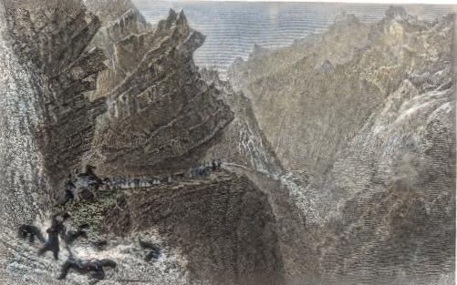 PASSAGE OF THE CARDINELLS (Mt SPLÜGEN), Switzerland, engraving,