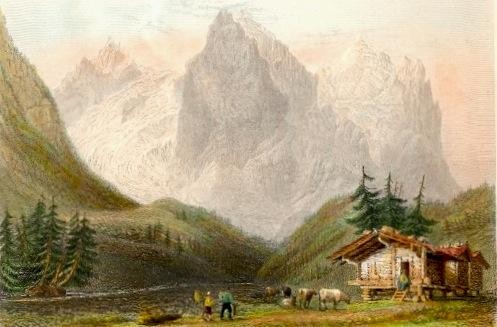 WETTERHORN, ROSENLAUI, Switzerland, engraving, plates