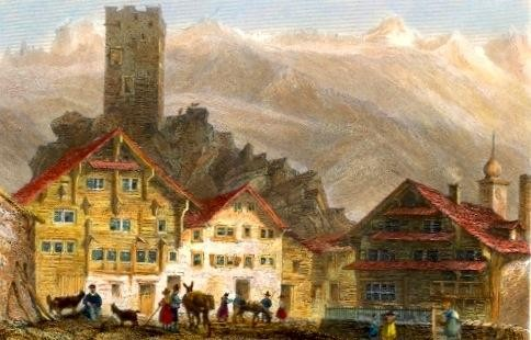 L'HOPITAL, Switzerland, engraving, stich