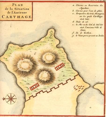 CARTHAGE, PLAN, map 18th, Tunisie