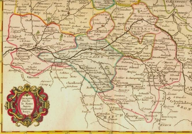 ORLEANOIS PERCHE LE MANS ANJOU TOURRAINE BERRY, France, carte du