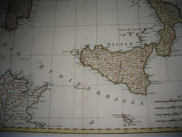 SARDAIGNE, SICILE, SOUTH ITALY, map 18th
