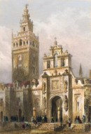 TOUR DE LA GIRALDA, PORTE DU PARDON, Spain, old print, engraving