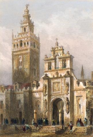 TOUR DE LA GIRALDA, PORTE DU PARDON, Spain, old print, engraving