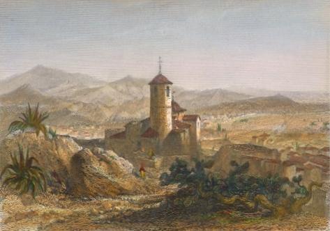 LORCA, Spain, old print, engraving, plate