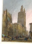 VALENCE, PIAZA CATEDRAL, Spain, old print, engraving, plates