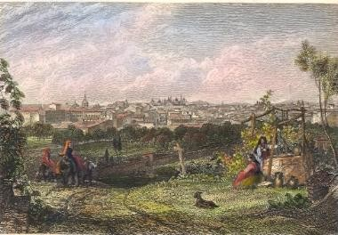 MADRID, Spain, old print, engraving, plate