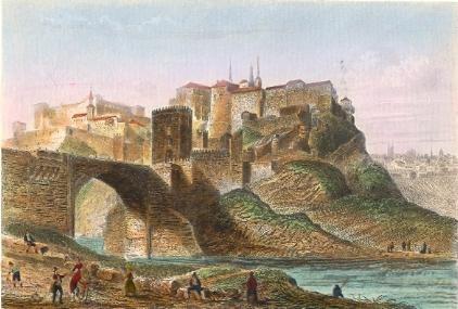 TOLÈDE, Spain, old print, engraving, plate