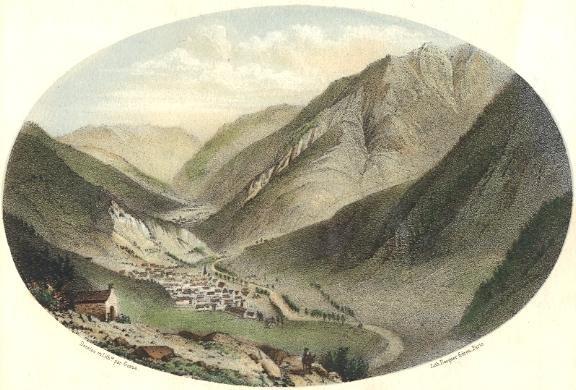 VUE DE BOSOST, Spain, old print, engraving, plate