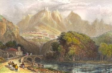 CINTRA, Portugal, old print, engraving, plate