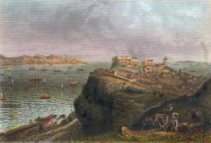 LISBONNE, Portugal, old print, engraving, plate