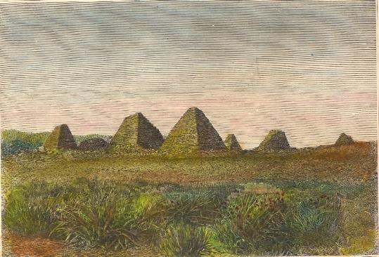 PYRAMIDES DE MÉROÉ, Egypt, old print, engraving, plate