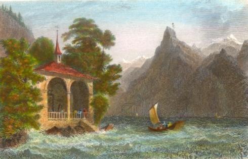 TELL'S CHAPEL, Lake of Uri, switerland, old print, plate