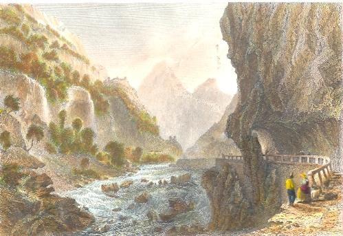 SIMPLON, VAL VEDRO, Switzerland, old print, mountan, engraving,