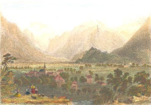 INTERLACKEN, Canton Bern, Switzerland, old print, engraving, pla