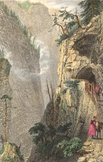 "GALLERY IN THE ""TROU PERDU"" NEAR TUSES, Grisons, Switzerland, ol"