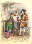 COSTUMES, CANTONS DE ZUG ET DE SCHWYTZ, Switzeland, old print, e