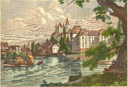 THOUNE, L'AAR, Switzerland, old print, engraving, plate