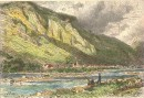 FELSBERG & LE MT CALANDA, Switzerland, old print, engraving, pla