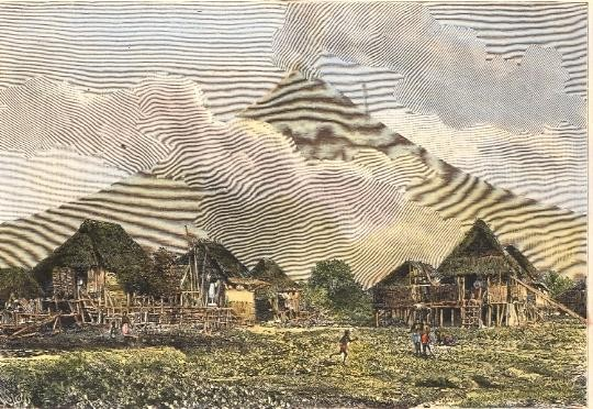PHILIPPIN : THE MAYON, volcano, old print, engraving, plate