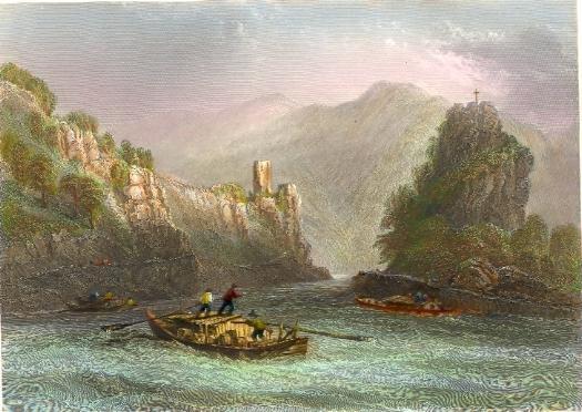 THE STRUDEL, Austria, Danube, osterreich, Donau, old print, engr