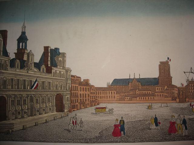 HÔTEL DE VILLE DE PARIS, France, see optics, 18th, old print, en