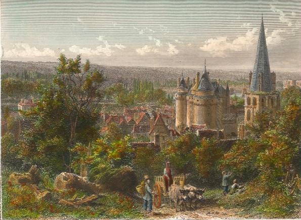 LANGEAIS, France, Loire, old print, engraving, plate