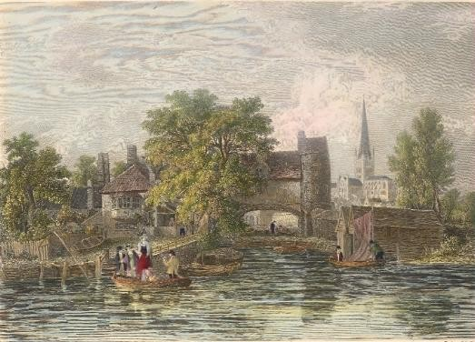 THE FERRY, England, old print, engraving, plate