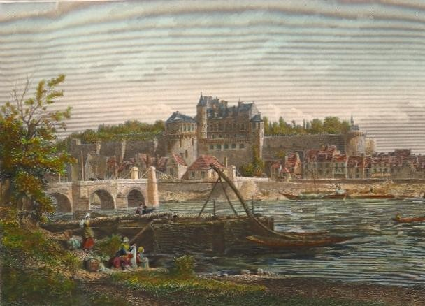 AMBOISE, France, engraving, castle, old print, plate