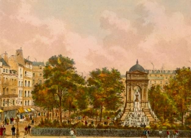 SQUARE DES INNOCENTS, Paris, France, engraving, lithography, old