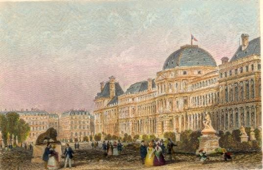 PALACE OF THE TUILERIES, Paris, France, engraving, old plate, Fr